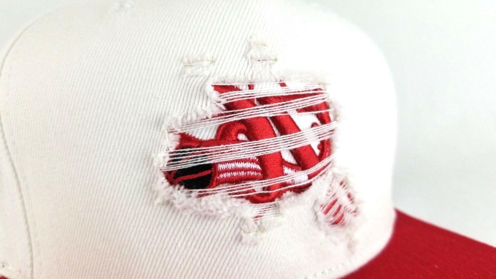 Mitchell & Philadelphia 76ers White Red Logo Hat