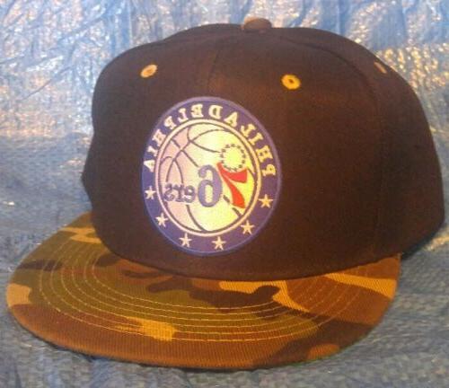 philadelphia 76ers baseball cap black and camo