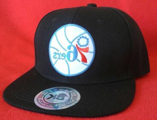 Philadelphia 76ers Black Flat Snapback Hat