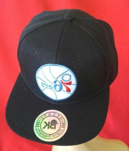 Philadelphia 76ers Black Flat Bill Snapback