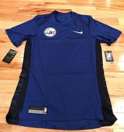 Nike Philadelphia 76ers Blue Red Dri-Fit Shooting Shirt 8774