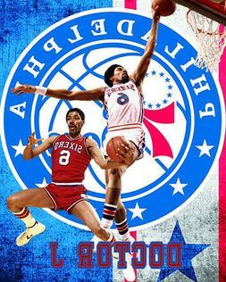 "Philadelphia 76ers Lithograph print of Julius Erving ""Dr J"""