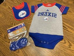 Philadelphia 76ers MLB adidas Infant 3-Piece Creeper, Bib an