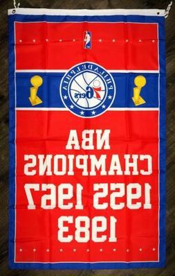 philadelphia 76ers nba championship flag 3x5 ft